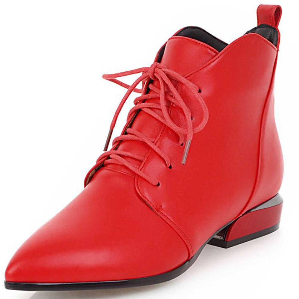 Karinluna ขายยี่ห้อขนาดใหญ่ 43 รองเท้าผู้หญิง Elegant ชี้ Toe คุณภาพสูง Shoelaces ฤดูใบไม้ผลิข้อเท้าหญิง