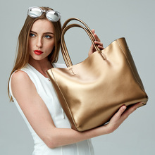 New fashion solid color leather women's bag large capacity Cowhide single shoulder retro handbag and purses PU Free shipping