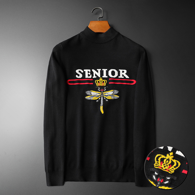 New 2020 Men Luxury Senior Bee Crown Stripes Embroidered Casual Sweaters Pullover Asian Plug Size High Quality Drake #N177