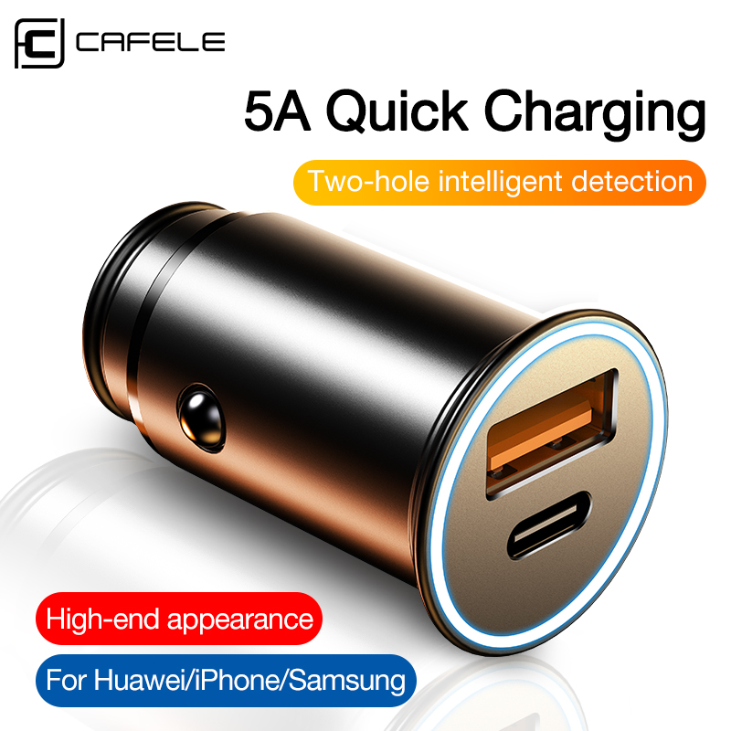 CAFELE Quick Charge QC4.0 3.0 USB Car Charger Type C PD Fast Charging Car Mobile Phone Charger Universal Car Charger