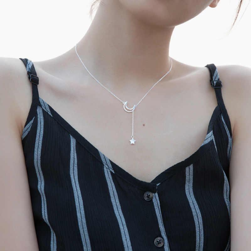DXJEL 100% 925 argent Sterling nouveauté mode lune et étoiles contes chaîne lien pendentif colliers pour femmes bijoux fins tour de cou colliers livraison directe bijoux accessoires collier Colar