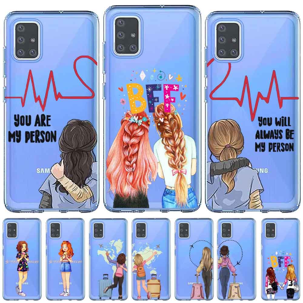 Bff irmã meninas melhor amigo para sempre preto cabelo castanho feminino caso capa para samsung a51 a71 a80 a70 a50 a30 a10 a9 a8 a7 a6 plus