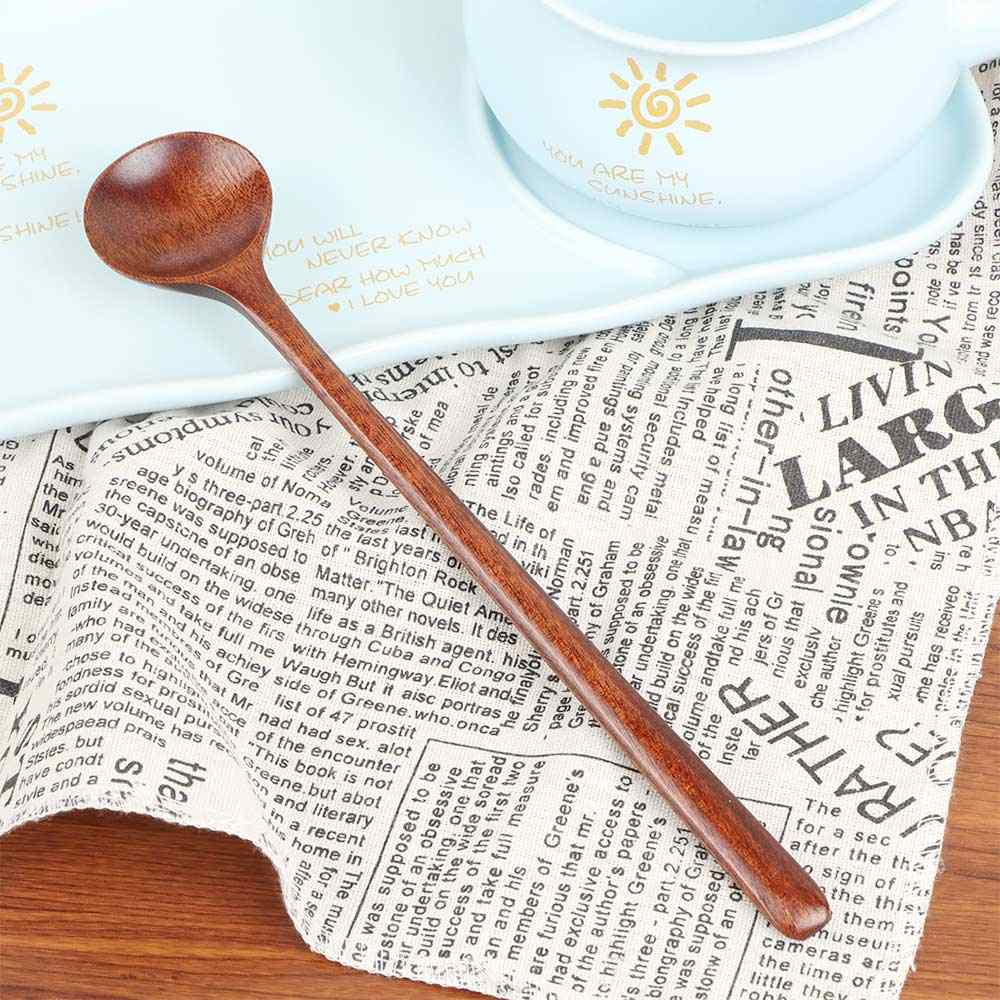 1pc cuillères longues en bois Style coréen 10.9 pouces 100% bois naturel longue poignée cuillères rondes pour soupe cuisson mélange Stirr