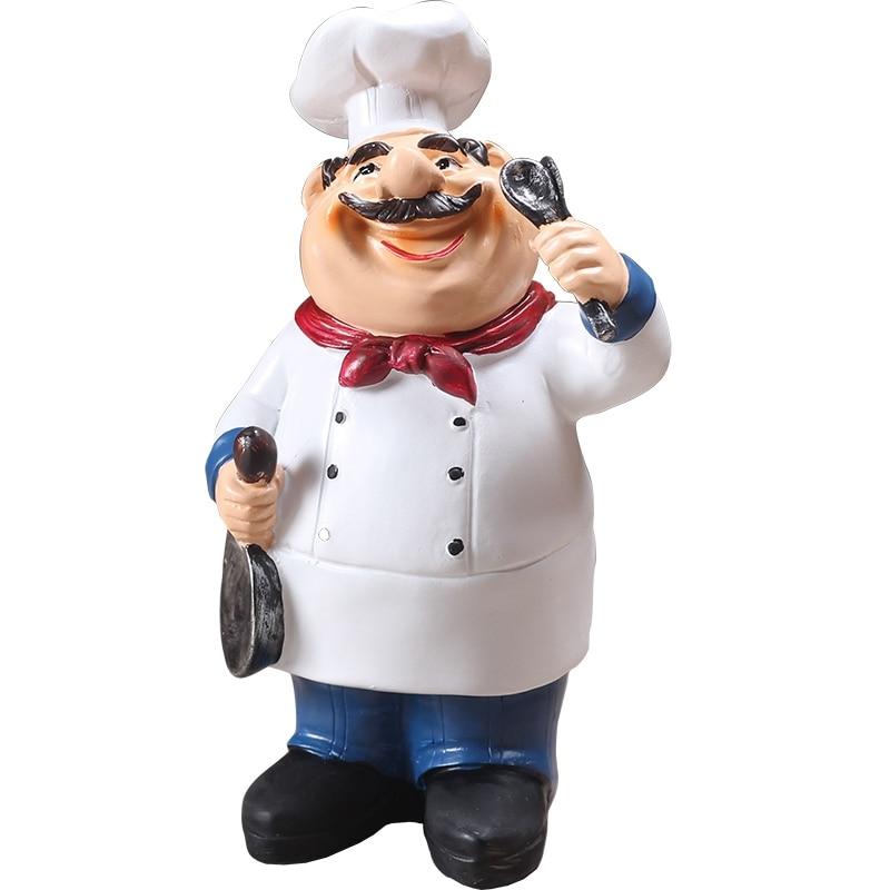 PHFU-Retro Chef Model Ornaments Resin Crafts Mini Chef Figurines Home Kitchen Restaurant Bar Coffee Decor