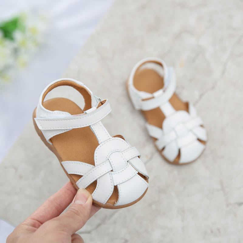 Girls Sandals PU Closed Toe T-strap White Pink 2020 New Kids Shoes Toddler Summer Footwear Infant Shoes SandQ Little Kids Strips