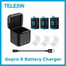 Telesin bateria 1750 mah para gopro hero 9 3 maneiras led luz carregador de bateria tf cartão de armazenamento de bateria para gopro hero 9 preto