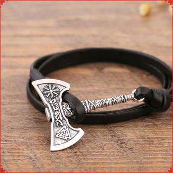 Noter Mens Ax Viking Bracelet Antique Hatchet Braslet Handmade Braided Multilayer Leather Pirate Bracelet For Male Hand Jewelry 3