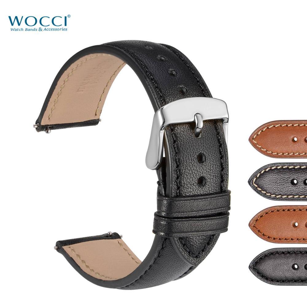 WOCCI Black 18mm 20mm 22mm Watchband For Men Women Full Grain Leather Watch Strap On Belt Quick Release Watch Band Metal Buckle