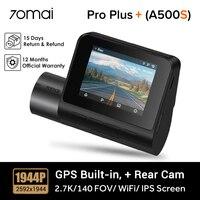 70mai Dash Cam Pro Plus + A500S Ingebouwde Gps Voor Adas, Wifi Auto Dvr 1944P, parking Monitor, 140 Fov, Nachtzicht, Voor & Achter