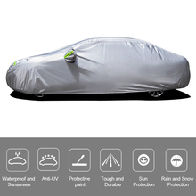 Car Cover Full Sedan Covers with Reflective Strip Sunscreen Protection Dustproof Waterproof UV Scratch Resistant Universal