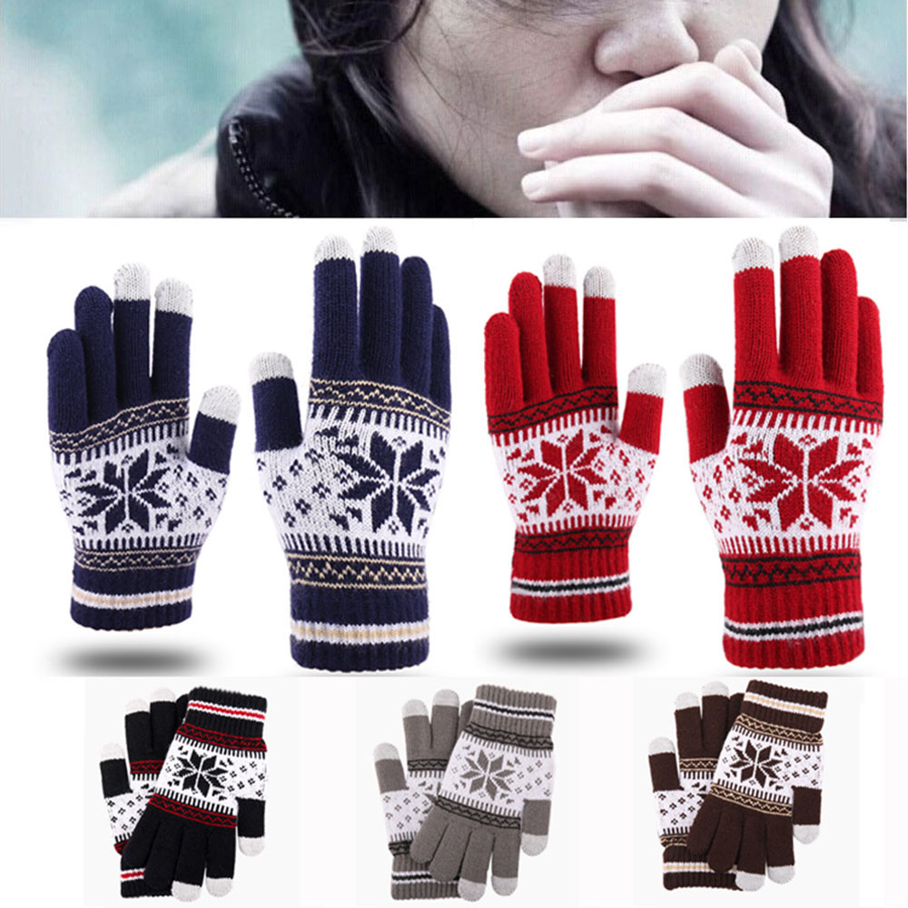 1PC Women Knitted Gloves Winter Gloves Warm Screen Men Candy Color Snowflake Mittens For Mobile Phone Tablet Pad Game Gloves
