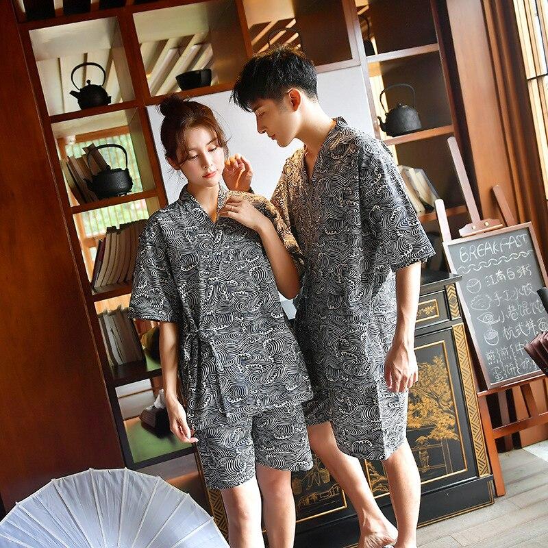 Couple Japanese Traditional Kimono Yukata Haori Robe Pajamas Home Bathing Suit Spa V-neck Cotton Printing Gown Obi Clothing Sets