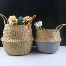 اليدوية الخيزران سلات تخزين طوي الغسيل القش خليط الخوص الروطان الأعشاب البحرية البطن أصيص أزهار الحديقة زارع سلة