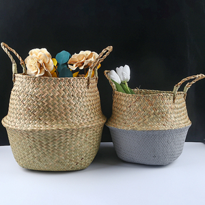 Image 1 - Handmadeไม้ไผ่ตะกร้าซักผ้าพับได้Straw PatchworkหวายSeagrass Bellyสวนดอกไม้หม้อPlanterตะกร้า
