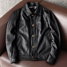 Free shipping.Natural Genuine Leather jacket.New arrival cowhide clothes.quality leather coat.men casual leather clothing(China)