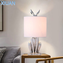 Postmodern Design Resin Rabbit Table Lamp with Plug In White Black Gold Silver Bedroom Bedside Decorative Desk Lights LED E27 kung retro black white silver gold color wrought iron lampashade led pendant light decorative with e27 holder 1 2 meter cable