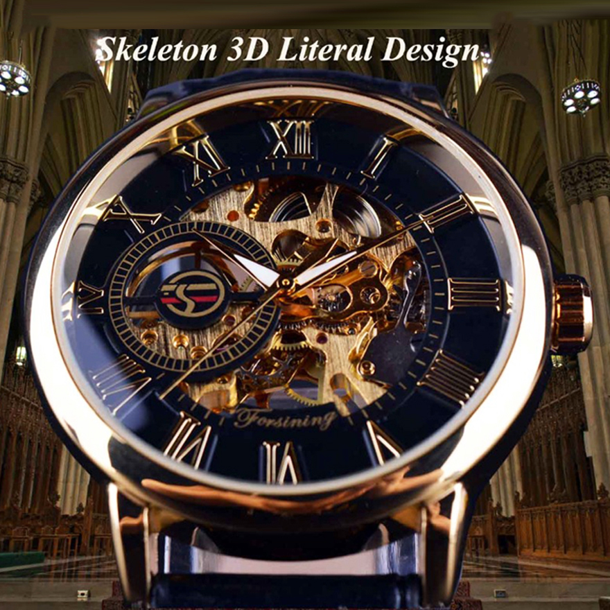 Forsining Men Watches Luxury Mechanical Skeleton Watch Black Golden 3D Literal Design Roman Number Black Dial Luminous ClockMechanical Watches   -