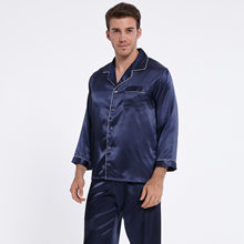 Men's lapel long sleeve pyjamas imitation silk spring and autumn long sleeve thin summer middle-aged and elderly home suit