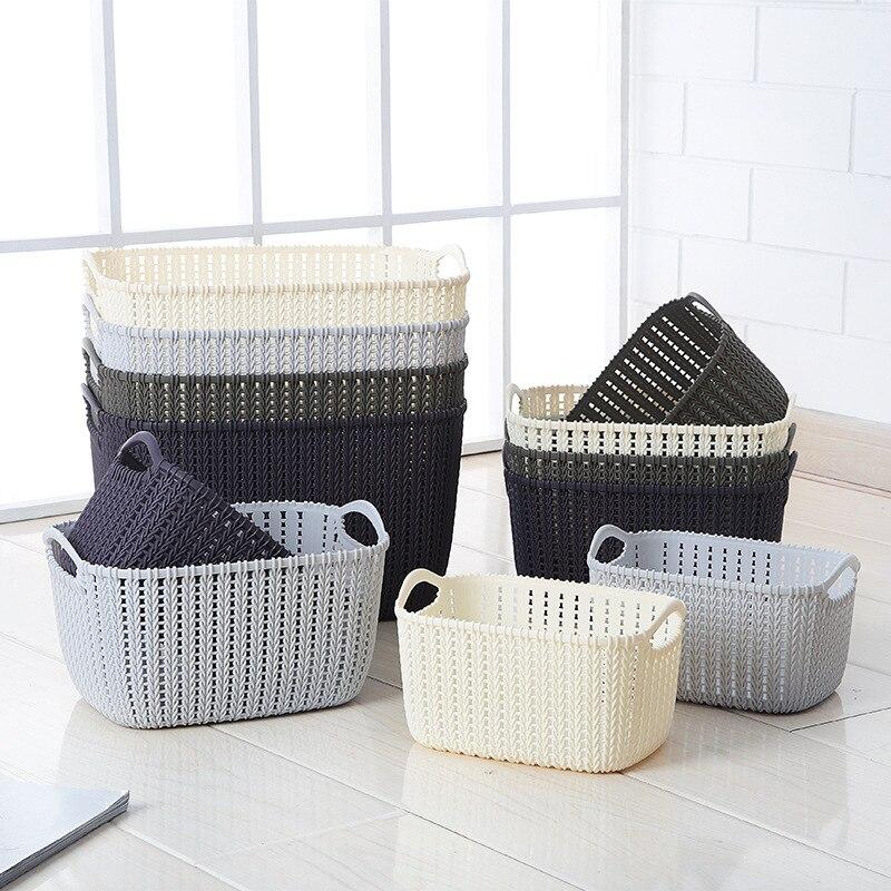 Rectangular Plastic Handle Storage Basket Desktop Rattan Sundry Basket Storage Basket Bathroom Bath Blue Bath Basket