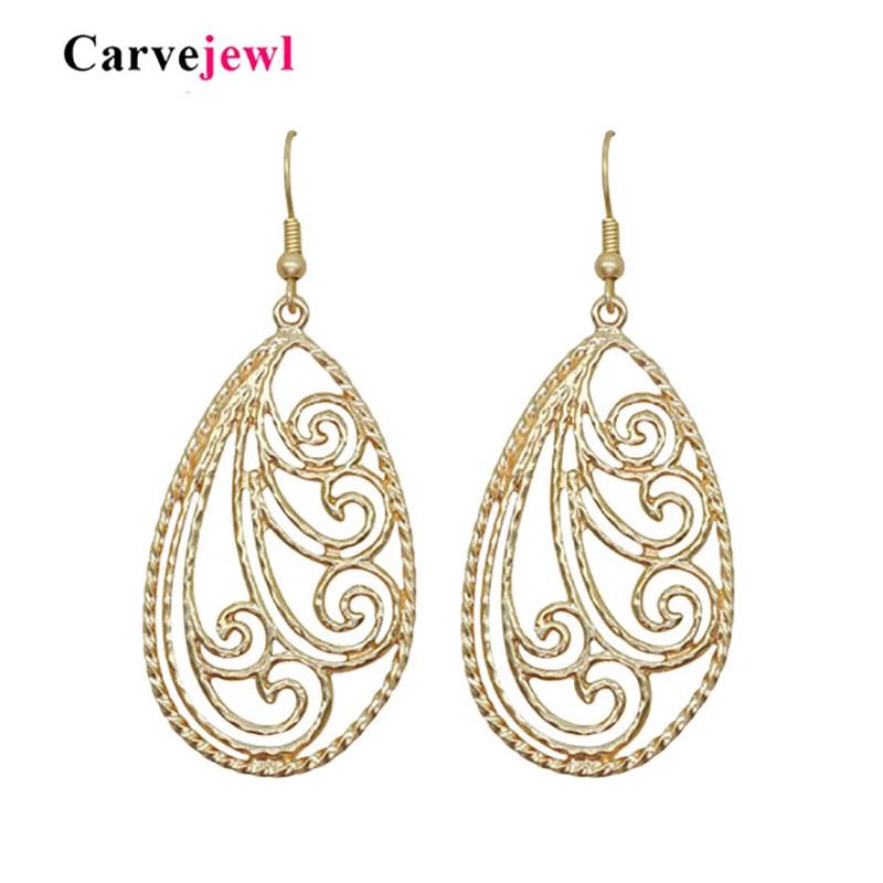Carvejewl earring water drop leaf earrings women girl gift matte gold plating 2019 spring style bohemian hot sale trendy bijoux in Drop Earrings from Jewelry Accessories