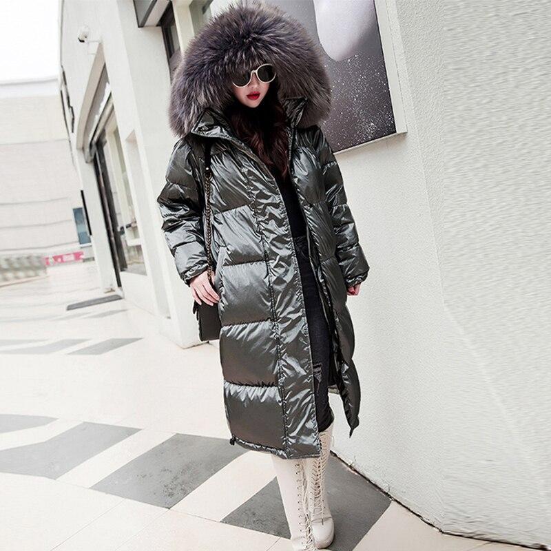 Solid Fur Hooded   Down   Jackets Women Reflective Plus Size Long Winter   Coats   Streetwears Female Thicken Warm Loose Parkas Harajuku