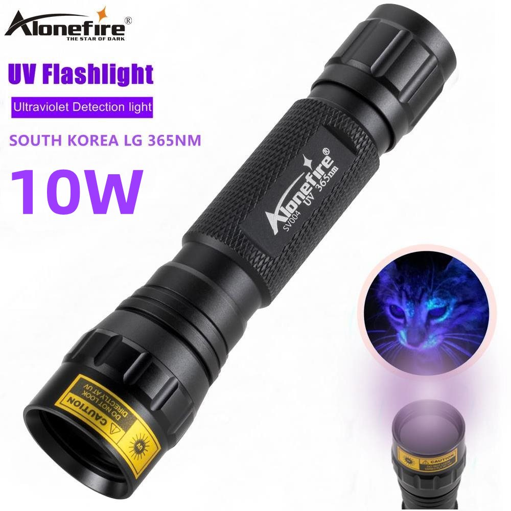 AloneFire SV004 LG Ultra Violet Light 10W High Power <font><b>365nm</b></font>/<font><b>395nm</b></font> <font><b>uv</b></font> <font><b>flashlight</b></font> <font><b>UV</b></font> Black Light Pet Urine Stains Detector Scorpion image