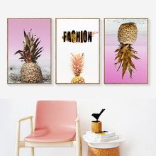 цена на Pink Pineapple Decorative Wall Art Canvas Posters Prints Nordic Gold Quote Paintings Wall Art Pictures for Living Room Decor