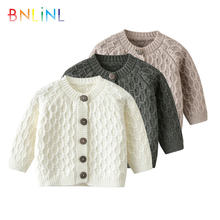 Однотонный вязаный свитер для младенцев на осень/зиму