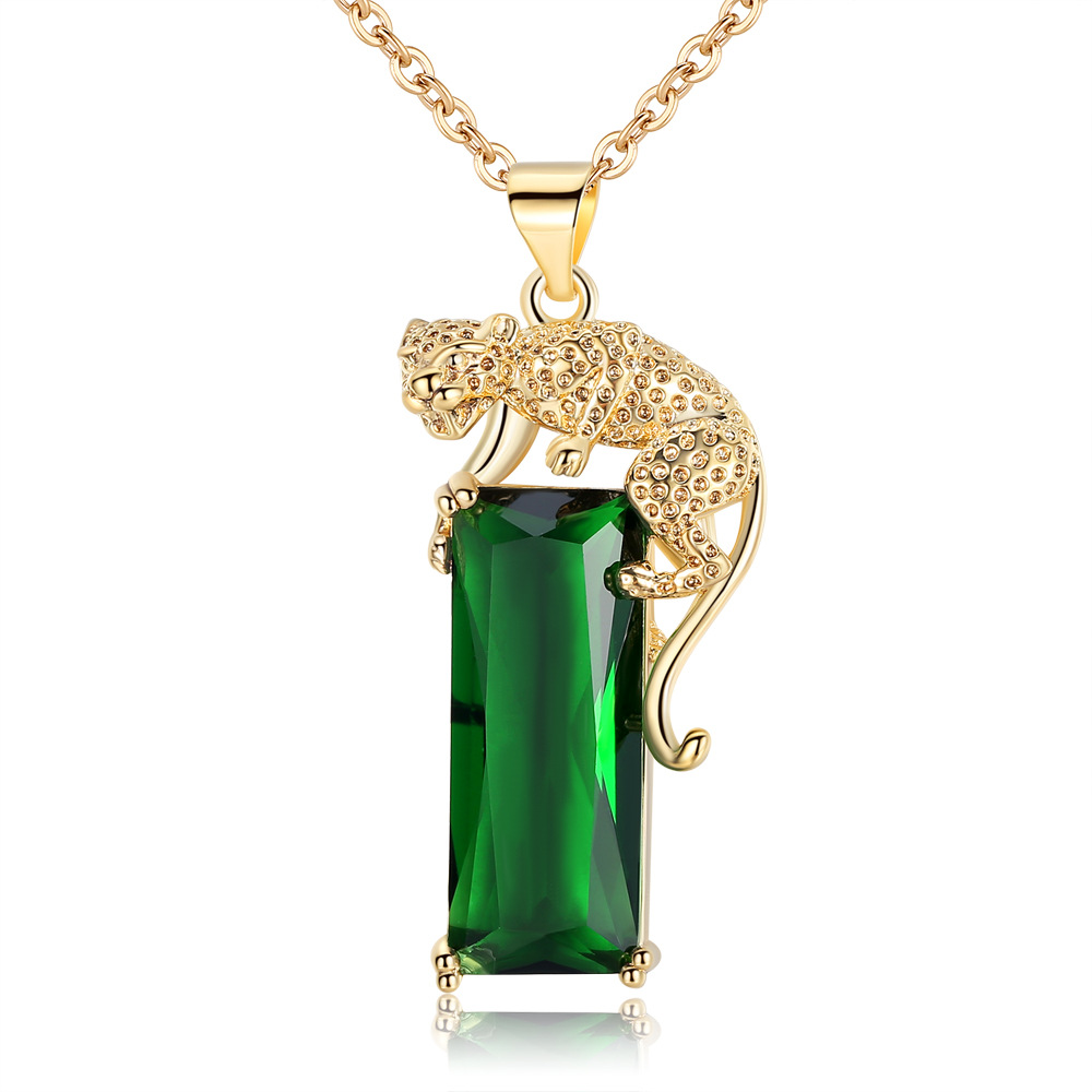 Cross Border Emerald Pendant Leopard With Gemstone Tourmaline Color Necklace Europe And America Foreign Trade Hot Sales Men And