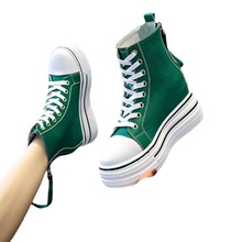 Canvas Shoes Women 2021 summer New High Top White Shoes Fashion All-Match Platform Height Increasing Insole Casual Women's Shoes