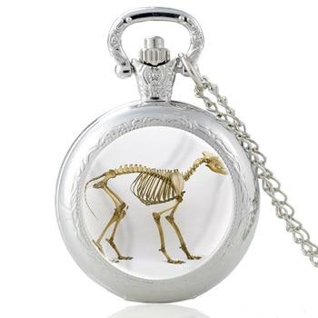 High Quality Silver Wolf Skeleton Glass Dome Quartz Pocket Watch Men Women Necklace Pendant Jewelry men jewelry antique silver tribal stark wolf fang tooth pendant necklace vintage wolf tooth dragon titanium pendant necklace
