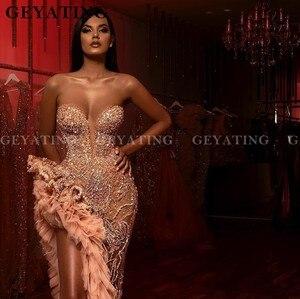 Image 3 - יוקרה קריסטל חרוזים צד סדק בת ים שמלות נשף סקסי אשליה Aso Ebi שמפניה ראפלס מתוקה ארוך פורמליות שמלת שמלות