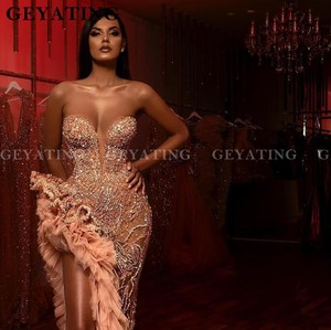 Image 3 - Luxury Crystal Beaded Side Slit Mermaid Prom Dresses Sexy Illusion Aso Ebi Champagne Ruffles Sweetheart Long Formal Dress Gowns