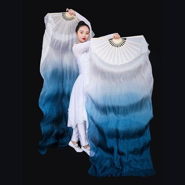 New Arrivals Women Belly Dance Fan Veil Hand Made White Navy Blue Gradient Silk Veil Pairs 180x90cm Girls Women Stage Show Props