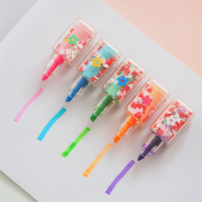 5pcs Little Daisy Flower Color Highlighter Marker Pen Mini Nail Polish Bottle Shape Drawing Liner Stationery Office School A6827