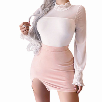 Flower Collar Mesh T-Shirts Women Ladies High Neck T-Shirt Petal Long Sleeve Tops Solid Color Pullover Black White Slim Top