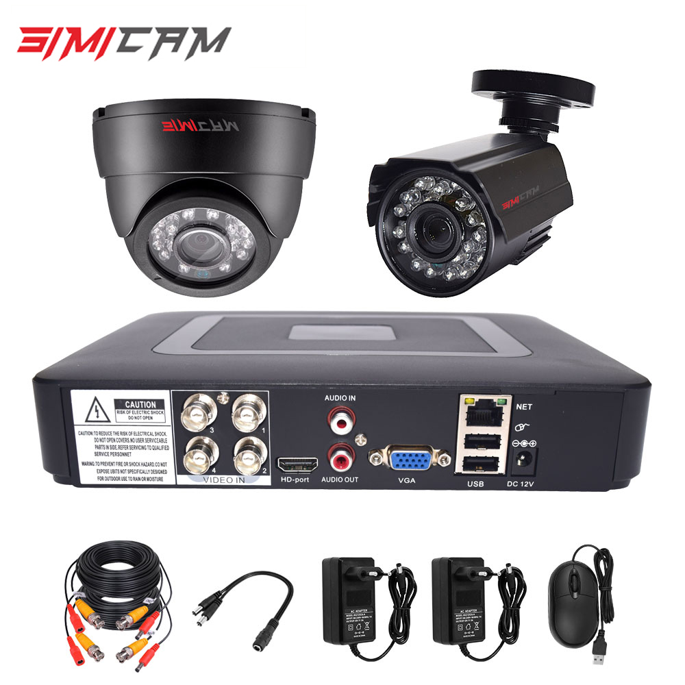 Security Camera System CCTV Kit DVR Cameras HD 4CH 1080N 5in1 DVR Kit 2pcs 720P/1080P AHD Camera 2MP P2P Video Surveillance Set