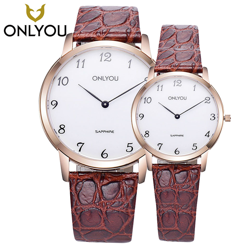 ONLYOU Watches Lovers Luxury Brand Coffee Band Military Watches Genuine Fashion Casual Watch For Lovers 6956