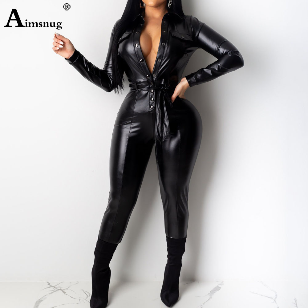 High Waist Womens PU Leather Jumpsuits Lace-up Skinny Bodysuits Female Single-breasted Faux Leather Autumn Winter Sexy Overalls