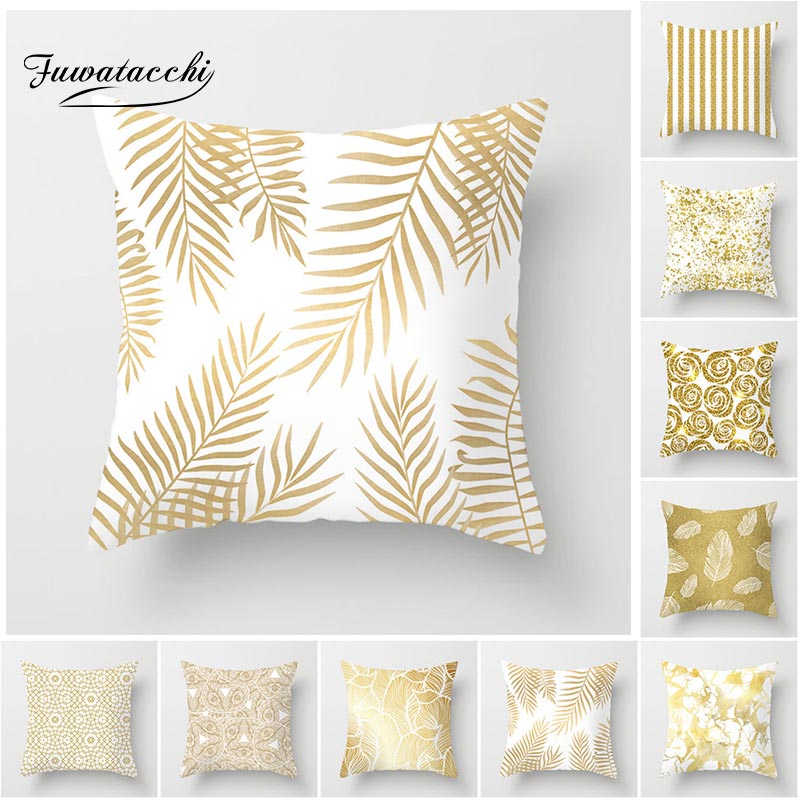 Fuwatacchi Gold Geometric Cushion Covers Leaf Dot Wave Pillow Cases For Home Sofa Chair Car Decoration Flowers Pillowcases 2019