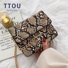 Женская сумка через плечо с принтом змеиной кожи винтажная дизайнерская