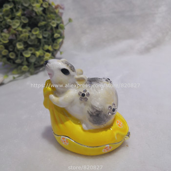 2020 New Designs Mouse Pewter Bejeweled Hinged Miniature TrinketBox Bejeweled Mouse Trinket Box Luxury Gifts great gifts turtle big trinket box turtles tortoise hinged trinket box pewter turtle ring keepsake box 14 11 5 5 cm l w h
