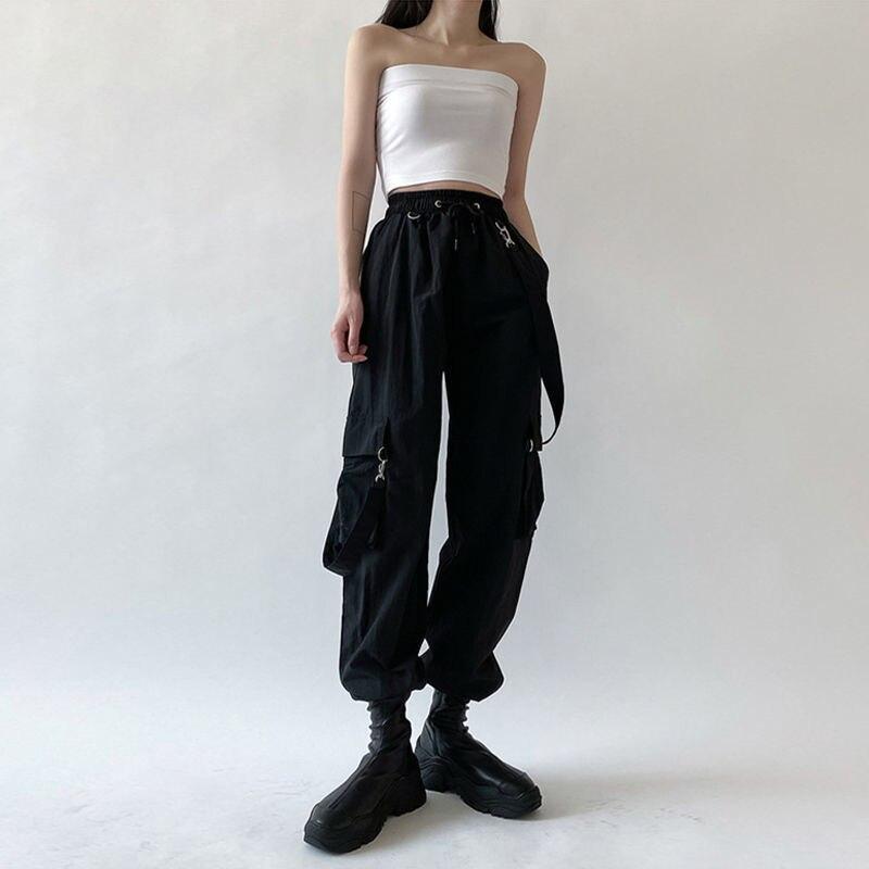 QWEEK Goth Cargo Pants Women Punk Plus Size Capris Pants Harajuku High Waist Pants Oversize Detachable Strap Casual Trousers Emo