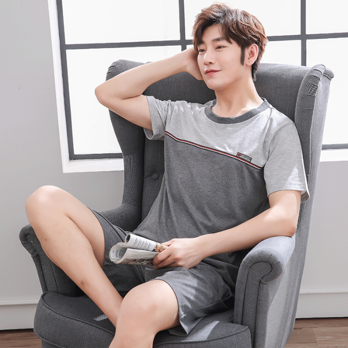 Men's Pajamas Set Summer Cotton Short Sleeve Trousers Set Korean Version Of Loose Leisure Summer Home Wear Men Sleepwear Set