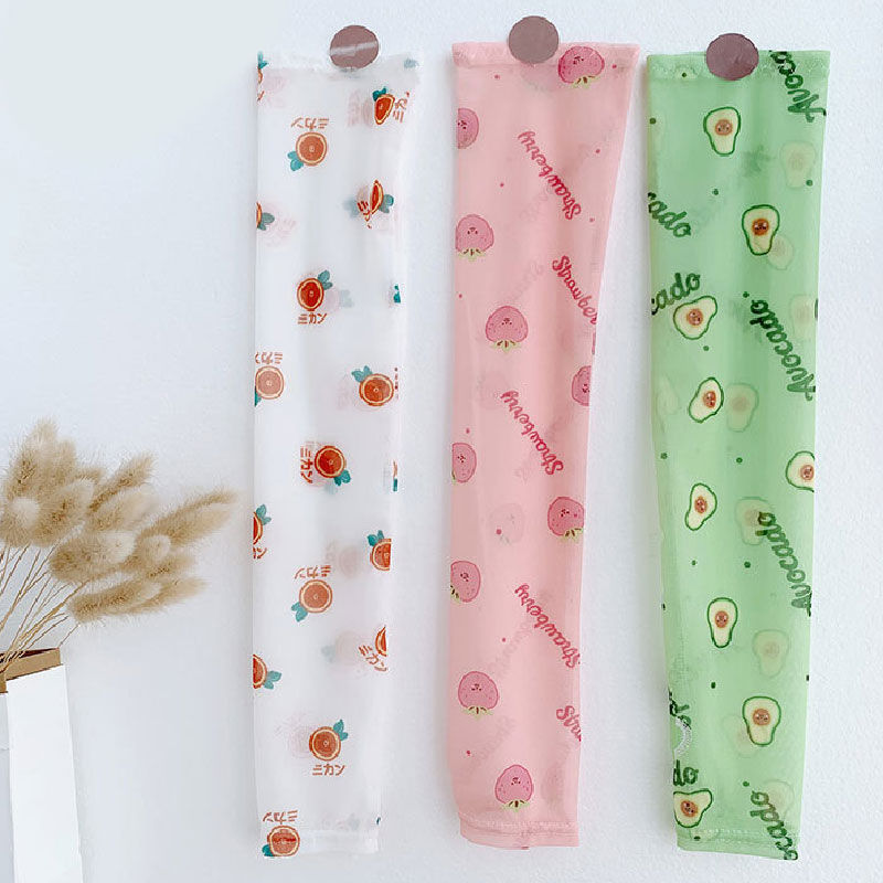 1 Pairs Ice Silk Arm Sleeves Avocado Corgi Srawberry Arm Warmers Summer Spors Protection Run Cycling Pattern Daisy Sunscreen New