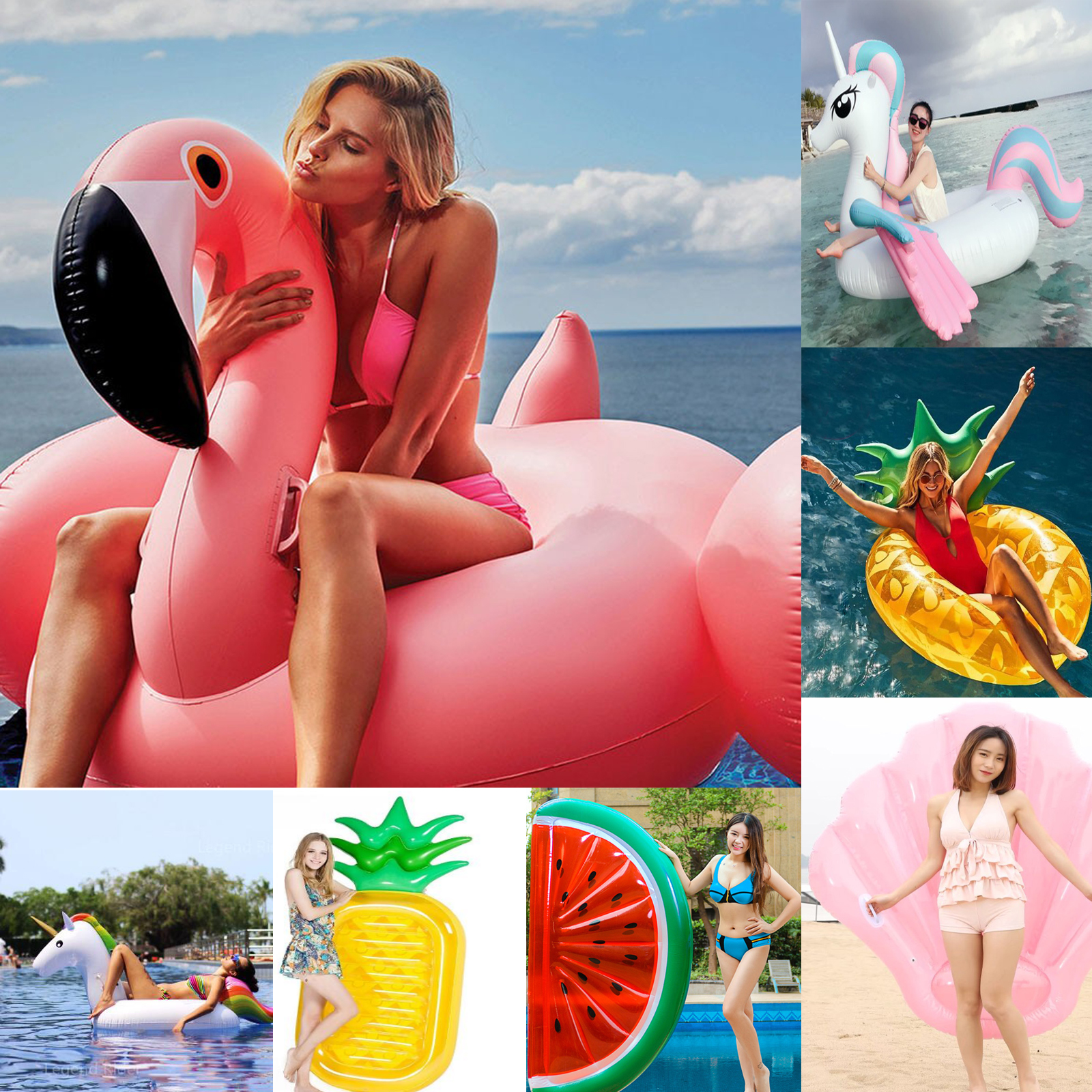 Inflatable Giant Flamingo Swan Unicorn Float For Adult Tube Circle Pool Party Toys Ride-On Air Mattress Swimming Ring Boia