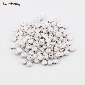 200pcs 7mm Mixed Silver Color Acrylic Letter Beads Flat Round Spacer Beads For Jewelry Making Handmade Diy Bracelet Accessories