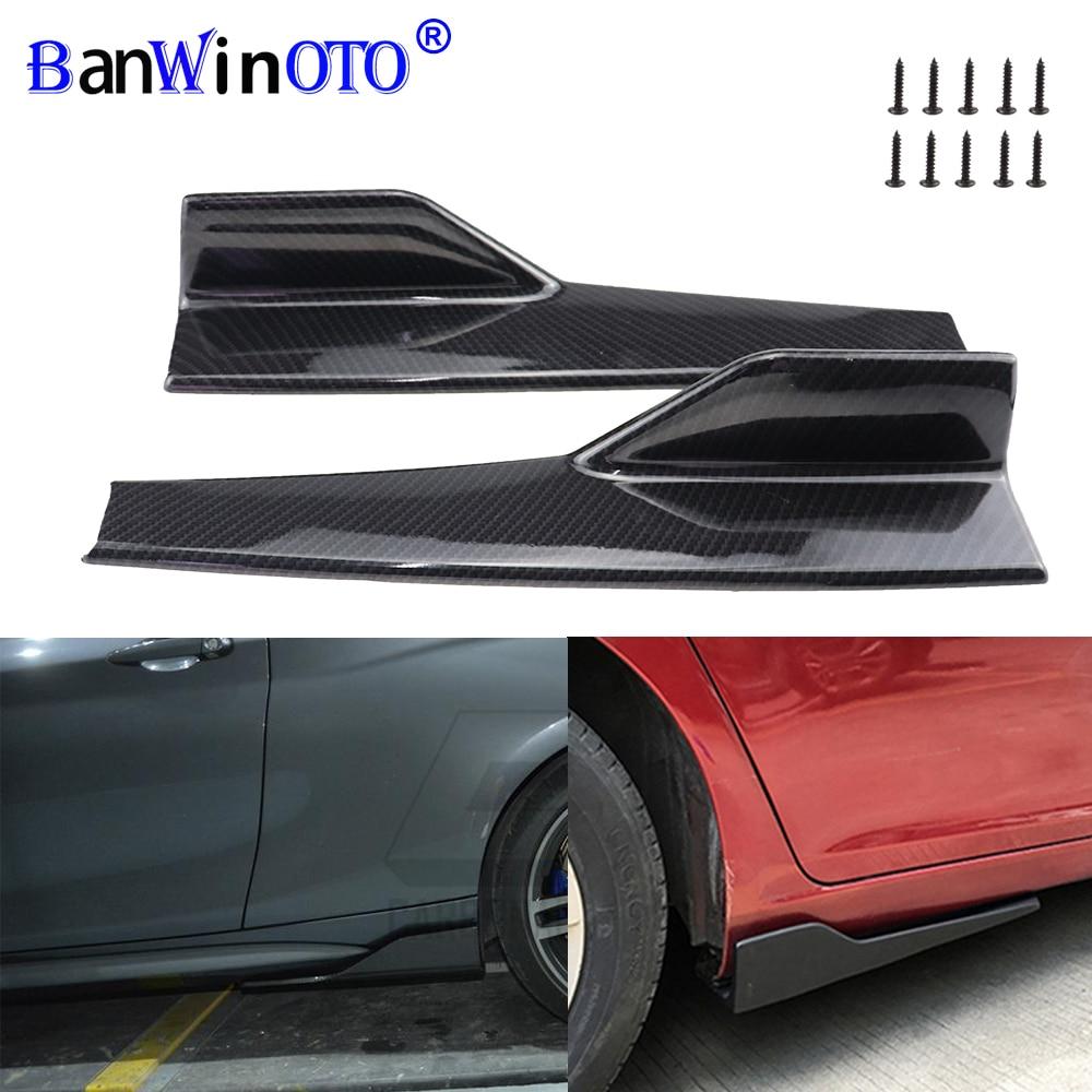 2 unids/set coche cuerpo ancho faldas laterales divisores Kit modificado faldones laterales basculante Anti-arañazos Winglet alas parachoques 45cm Universal