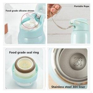 Image 5 - Sıcak satış 480ML yalıtımlı termals süt ve kahve Cup18/8 paslanmaz çelik termos saman su şişesi degrade spor termos
