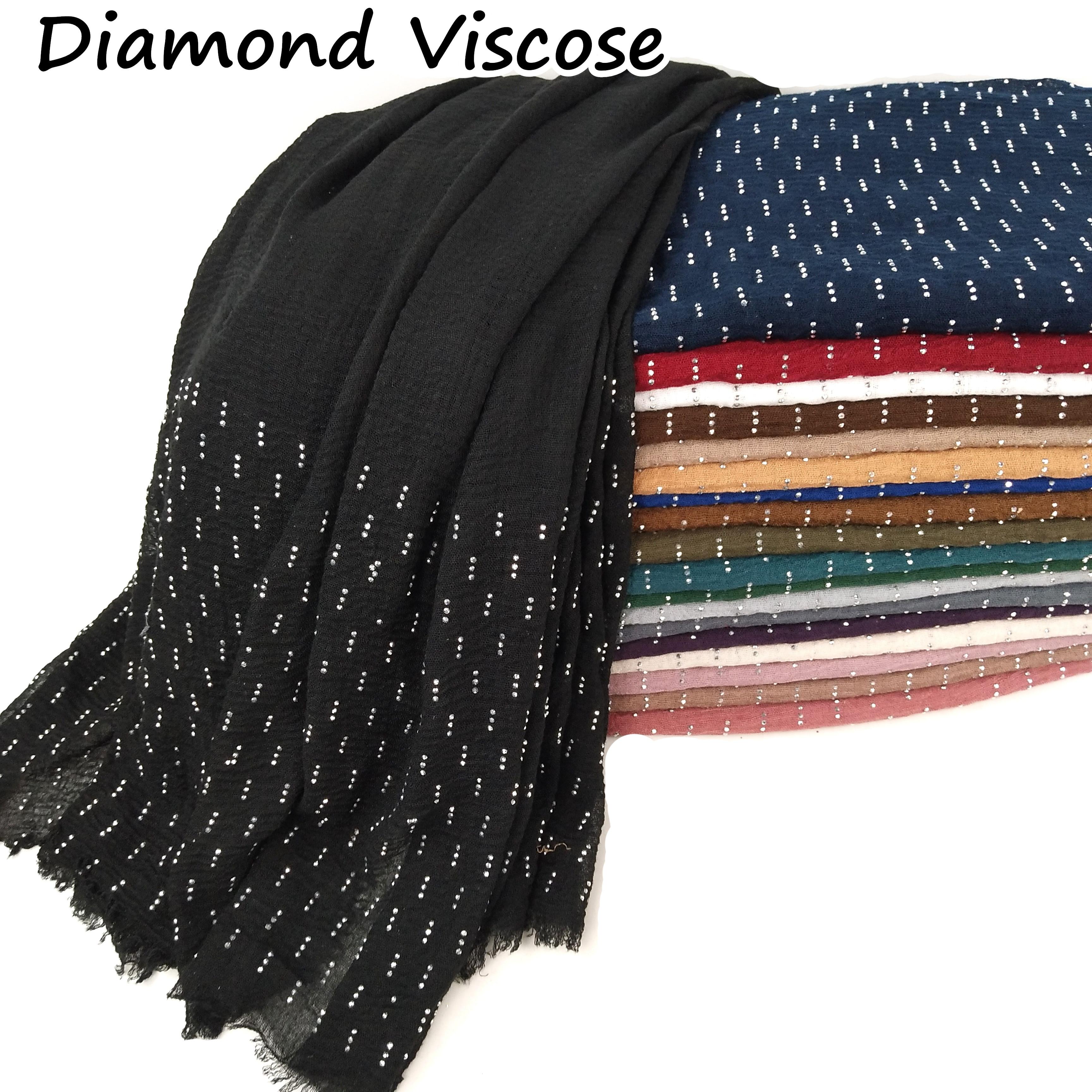 T1 10pcs Diamond Crinkle Plain Wrinkle Wrap Bubble Cotton Viscose Long Shawl Scarf Women Crinkled Hijab Shawl  Head Hijab Scarf